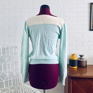 Vintage Sweaters - 80s Blue Angora Sweater Size S M Laura Peterson